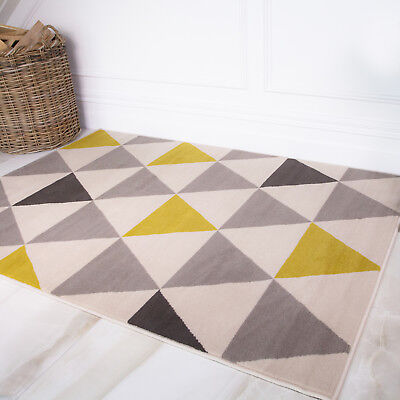 Nordic Ochre Mustard Yellow Grey Geometric Rugs For Living Room Modern Rug Cheap
