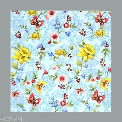 5 x PAPER NAPKINS - FLOWERS AND BUTTERFLIES