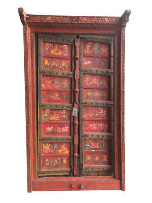 Antique Doors Red Colorful Hand Painted Ganesha Dream House Iron ARTISAN Door