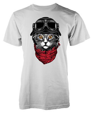 Cute Biker Cat Pussy Feline Motorbiker Kids T-Shirt