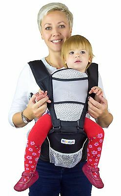 Black Nimnik Baby Sling Carrier Hipseat Premium Quality 4 In One Front Facing