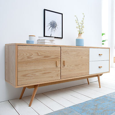 design sideboard scandinavia meisterst ck 120cm wei echt eiche anrichte kommode eur 249 95. Black Bedroom Furniture Sets. Home Design Ideas