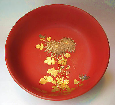 Japanese Red Lacquer Rinsing Bowl Silver & Gold Makie Decoration, Nice