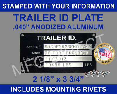 """""""stamped"""" Trailer Vin Id Plate Data Tag Serial Model Number Identification New"""
