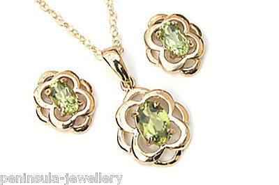 9ct Gold Celtic Peridot Pendant and Stud Earring set Gift Boxed Made in UK