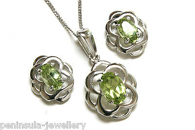 9ct White Gold Peridot Celtic Pendant and Earring Set Made in UK Gift Boxed