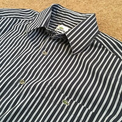 "Lacoste Long Sleeve Striped Shirt (Medium, 15"" Collar, Vintage, Mod, Hipster)"