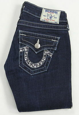 "True Religion ""julie"" Skinny Stretch Embellished Back Pockets Jeans Size 25"