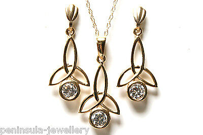 9ct Gold CZ Pendant and Drop Earring Set Gift Boxed Made in UK