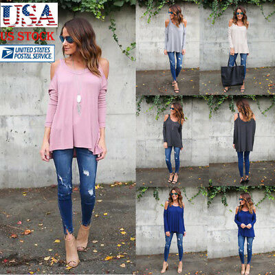 Womens Open Cold Shoulder Cut Out Blouse Long Sleeve Loose Pullover Tops Shirts