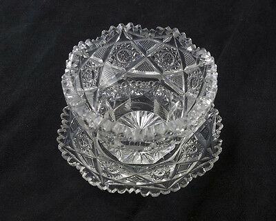 J Hoare Pluto Mayonnaise Bowl & Plate, Signed Antique ABP Brilliant Cut Glass