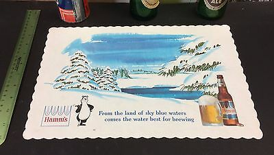 ca. 1960 HAMM'S BEER bear & bottle UNUSED place mat top can sign flat cone ale !
