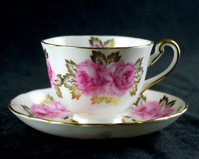 Royal Chelsea Cup & Saucer Set, Large Pink Roses Gold Overlay Vintage Bone China