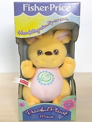"""1998 Mattel Fisher Price Peaceful Planet Mouse Rattle Plush New In Box 6"""""""
