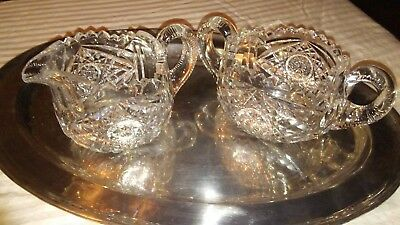 VTG. AMER. Crystal Creamer And Sugar Bowl Cut Glass Open Double Handle