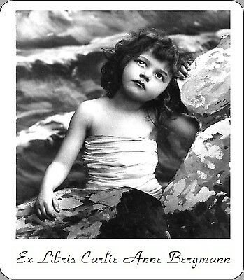 Personalized Ex Libris Bookplate Dreamy Little Girl Image Free 1st Class ship