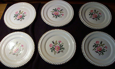Harkerware Petterg Lot of 6 Bread Butter Plates Pink flowers Gray Leaves USA