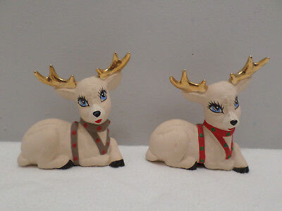 Two Porcelain Christmas Reindeer with Gold Antlers
