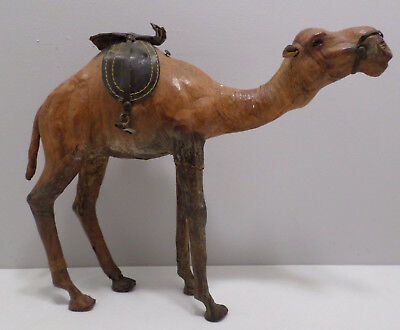 Antique Moroccan Leather Wrapped Camel Sculpture, Genuine Camel Hide Leather