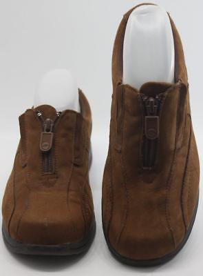 Dr. Scholl s Women s Gel-Pac Brown Suede Zip Up Casual Loafers Size 7W Shoes e7c0bf17030