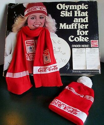 Vintage Coca Cola Store Sign Scarf Hat Display US Winter Olympics Committee 1980