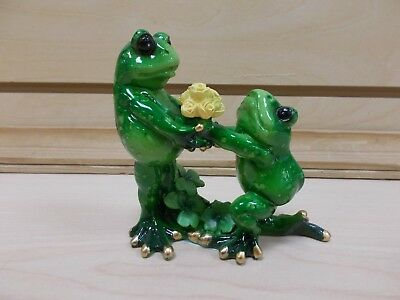 G61228 Frog With Flowers Statue Decoration Figurine Gsc