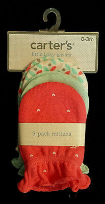 NWT-Carter's Little Baby Basics Mittens/3-Pack/Hello Cutie/Pink-Girl/0-3 Months