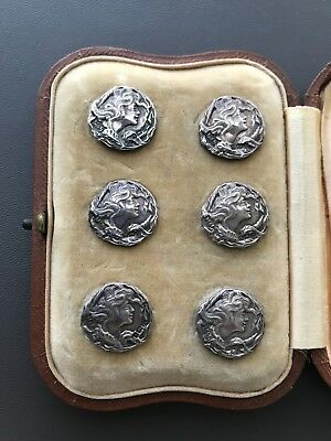 Cased Set of Antique Art Nouveau Sterling Silver Buttons Marston & Bayliss 1905