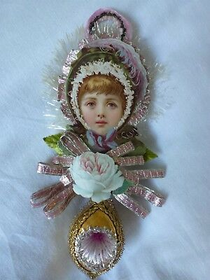 Vintage Glass Indent Christmas Ornament Die Cut Young Girl Scrap Dresden Tinsel
