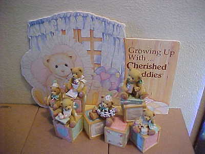 Cherished Teddies Growing Up With Block Display Background and 6 Bears Ages 1-6