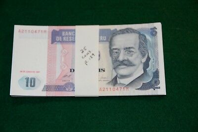 25 Consecutive Peru 10 Intis 1987 P.129 Currency Banknote Uncirculated Unc