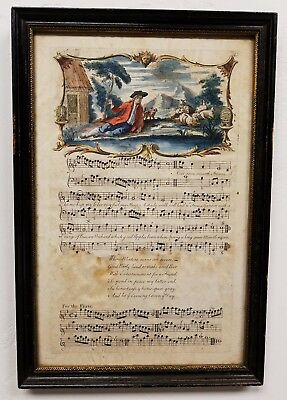 Antique 18th Century Hand Colored Engraving Musical Score