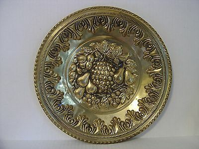 """Vintage Hammered Brass Grapes And Assorted Fruits Plate Made In England 12"""""""