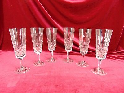 Lot of 6 ROGASKA Hamilton CUT Crystal 7.5 Fluted Champagne GLASSES