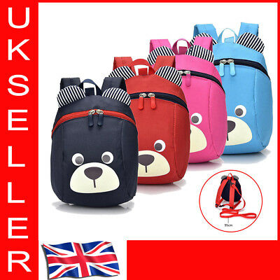 Cartoon Kids Toddler Walking Safety Harness Backpack Security Strap Bag With UK