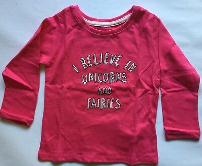 Baby Girls Dark Pink Long Sleeve T Shirt with I believe in Unicorns and Fairies