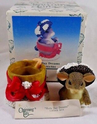 Charming Tails Holly Day Dreams Lidded Box  NIB