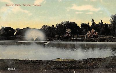 Topeka Kansas~Central Park~Fountain Spray~Swans~1910 Postcard