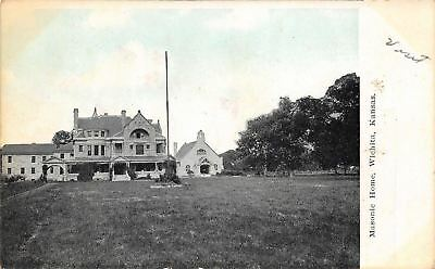 Wichita Kansas~Masonic Home~Church Behind~Fire Destroyed 1916~5 Dead~1912 PC