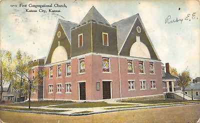 Kansas City Kansas~First Congregational Church~Neighborhood Homes~1910 Postcard