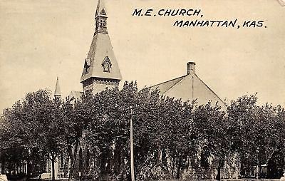 Manhattan Kansas~Methodist Episcopal Church~1911 Postcard