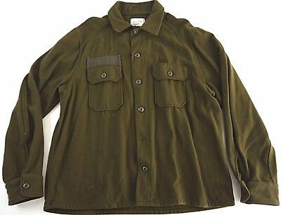 DISTRESSED VINTAGE 80s MILITARY green FIELD jacket/shirt WOOL/NYL army cold wthr