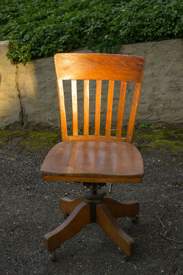 Antique Vintage Classic Tiger Oak wood Lawyers, Library Swivel Office Chair