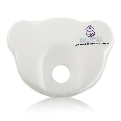 White Memory Foam Baby Pillow 100% Cotton Cover Prevents Flat Head 0-6 Months