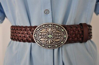 """Women's Brown Braided  Bonded Leather 1.75"""" Wide Belt Size 34-40"""
