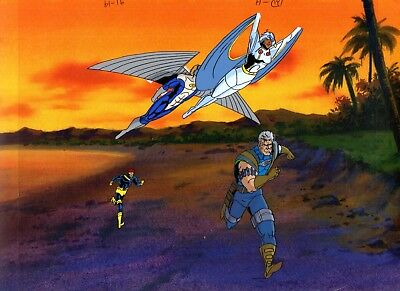 X-Men Animated Series / 1992 Marvel Original Hand Painted Cel & Copy Background.