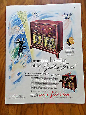 1947 RCA Victor Radio Phonograph Ad  Finest Tone Sytem in RCA History