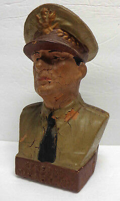 Vintage General Douglas MacArthur Bisque (?) Piggy Bank!