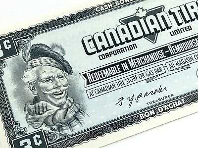 1974 Canadian Tire 3 Three Cents CTC-S4-A-AN Uncirculated Money Banknote D182