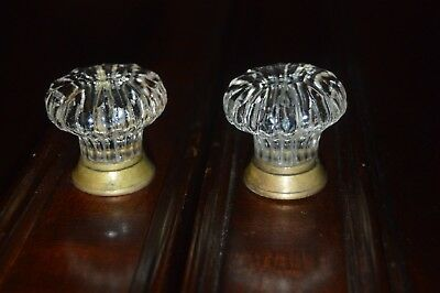 OLDER LARGE GLASS AND BRASS DRAW PULLS CABINET KNOBS 28 available